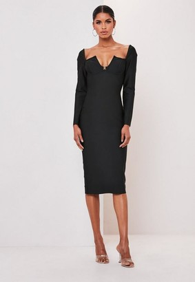 Missguided Premium Black V Bar Clasp Bandage Long Sleeve Midi Dress