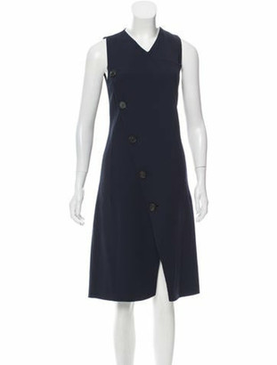 Derek Lam Button-Embellished Wool Dress Navy