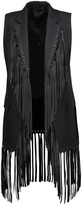Alexander Wang Fringed leather-trimmed cotton-twill vest