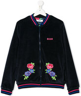MSGM Teen floral embroidered velour jacket