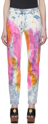 Versace Blue and White Denim Tie-Dye Jeans