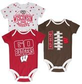 NCAA Wisconsin Badgers Newborn 3-Pack Bodysuit Set