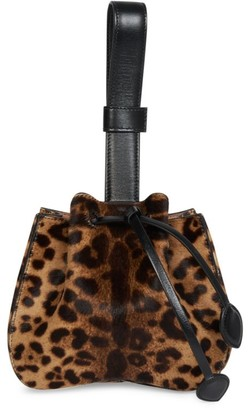 Alaia Rose Marie Leopard-Print Calf Hair Bucket Bag