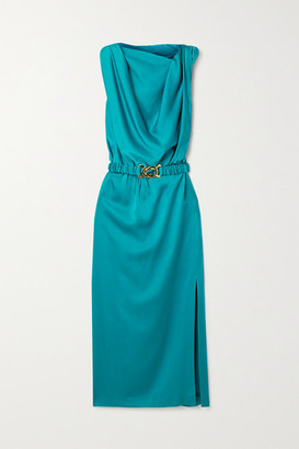 Dodo Bar Or Orian Belted Draped Satin Midi Dress - Teal
