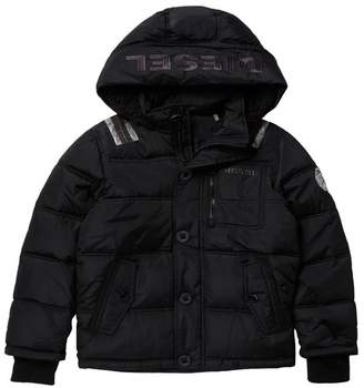 Diesel Puffer Logo Faux Fur Lined Hooded Jacket (Big Boys)