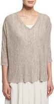 Eileen Fisher 3/4-Sleeve Boxy Linen Melange Top, Plus Size