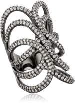 Noir Clear Black Three Sphere Set Ring, Size 8