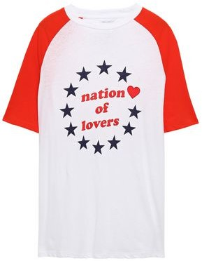 Zoe Karssen Nation Of Lovers Printed Cotton And Linen-blend T-shirt