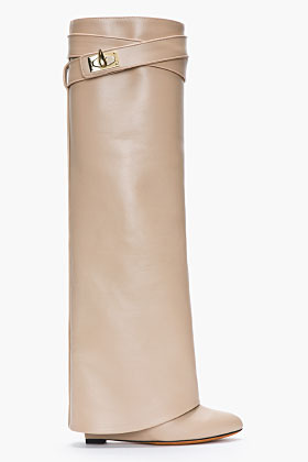 Givenchy Nude Leather Shark Lock Column Wedge Boots