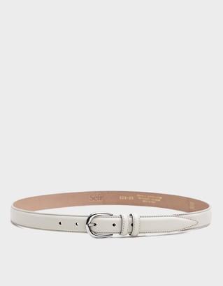 Séfr Men's Leather Belt in Off White, Size 100