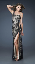 La Femme Alluring One Shoulder Long Dress 18263