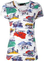 Love Moschino camping print T-shirt - women - Cotton/Spandex/Elastane - 46