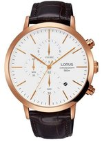 Lorus Men's 43mm Brown Leather Band Steel Case Quartz Analog Watch Rm368dx9