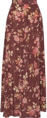 Zimmermann Unbridled Basque Floral-print Stretch-silk Maxi Skirt
