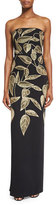 Lela Rose Strapless Sequined Leaf Column Gown, Black/Gold
