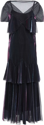 Maison Margiela Tiered Holographic Mesh Midi Dress