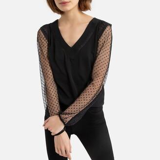 Naf Naf V-Neck T-Shirt in Dotted Voile and Lace
