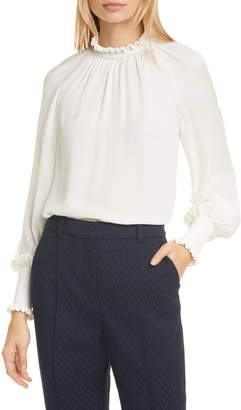 Tailored by Rebecca Taylor High Neck Long Sleeve Silk Top