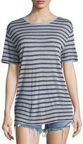 Alexander Wang Short-Sleeve Striped Jersey Tee, Lavender/Charcoal