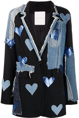 Loulou Denim And Leather Patchwork Blazer