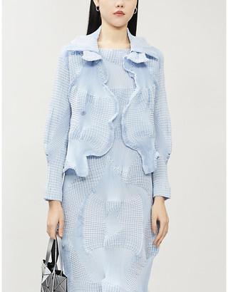 Issey Miyake Scalloped textured woven jacket