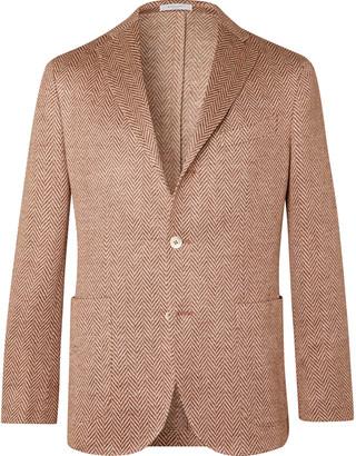 Boglioli K-jacket Slim-fit Linen-herringbone Blazer - Red
