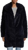 Badgley Mischka Adele Chevron Rabbit Fur Coat