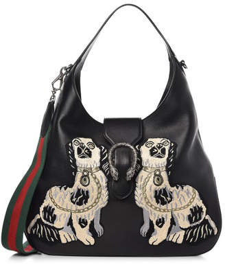 Gucci Dionysus Hobo King Charles Spaniel Dogs Embroidered Large Black