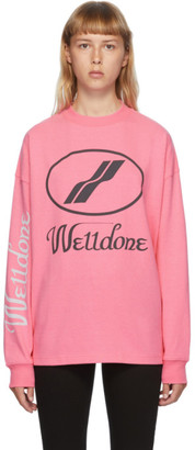 we11done Pink Logo Long Sleeve T-Shirt
