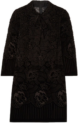Anna Sui Rose Basket Devore-velvet Mini Dress