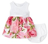 Children's Place The Baby Girl Sleeveless Floral Pleated Dress and Bloomer Set