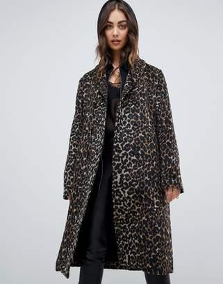 Religion belted coat in leopard-Multi