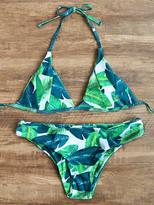 Shein Palm Leaf Print Bikini Set