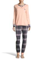 U.S. Polo Assn. Light Peach & Navy Plaid Pajama Set