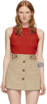 Ami Alexandre Mattiussi Red Rib Knit Tank Top