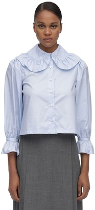 Maryam Nassir Zadeh WIDE COLLAR COTTON POPLIN BLOUSE