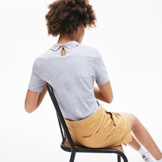 Lacoste Women's LIVE Velvet-Croc Pique Polo Shirt