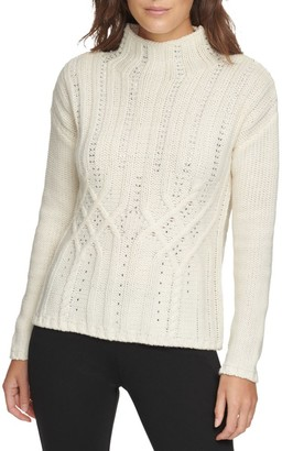 Donna Karan Crystal Cable Knit Sweater