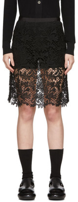 Sacai Black Embroidered Miniskirt