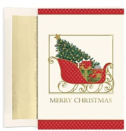 MASTERPIECE Sleigh Holiday Cards Set of 18