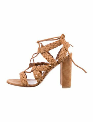 Gianvito Rossi Suede Braided Accents Gladiator Sandals Brown