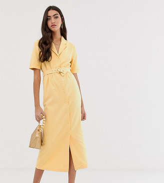 Asos Tall DESIGN Tall denim belted midi dress in buttermilk-Stone