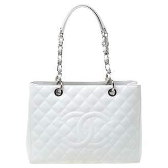 Chanel Petite Shopping Tote White Leather Handbags