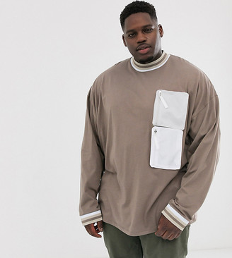 BEIGE Asos Design ASOS DESIGN Plus oversized long sleeve t-shirt with turtle neck and woven utility pockets in