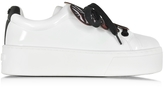 Kenzo Flower White Pantent Leather Platform Sneaker