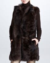 Ralph Lauren Black Label Long Shearling Fur Vest, Sepia