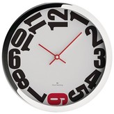 "Oliver Hemming Wall Clock with Six Sideways Number Dial - Red (12"")"