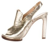 Chloé Metallic Embossed Slingback Pumps
