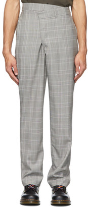 R 13 Grey Plaid Crossover Trousers