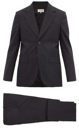 Maison Margiela Pinstripe Wool-blend Seersucker Suit - Mens - Navy